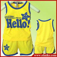 3pcs/lot baby children kids smiling face summer Cotton Vest + shorts suit set boy's girls hello print t shirt + short pant CD076