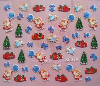 Free Shipping 24 kinds Christmas Designs 3D Nail Art Christmas Nail Sticker    XF371