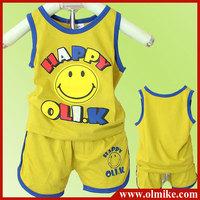 6pcs/lot baby children kids smiling face summer Cotton Vest + shorts suit set boy's girls hello print t shirt + short pant CD076