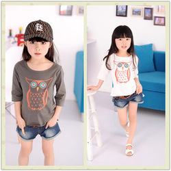 2013 spring child denim shorts girls clothing spring water wash denim casual pants t-shirt(China (Mainland))
