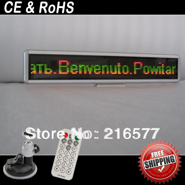 New Two Lines Red Green Yellow Led Color Scrolling Message Mini LED Display Sign(China (Mainland))