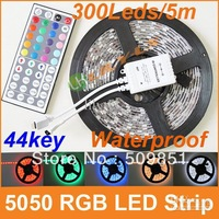 Waterproof RGB LED Strip 5050SMD 300leds 5M/reel flexible with 44keys remote controller DC12V 5A