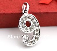 free shipping fashion  design number 9 with rhinestone digital jewelry pendant