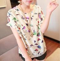 2014 New Arrival Fashion Women O-Neck Bird Print Chiffon T Shirt Short Sleeve Loose Top  Tees Shirt For Lady Free Shipping
