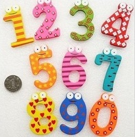 Min Order $15(mixed order)   stationery wooden Large digital magnetic stickers refrigerator stickers supplies  2848