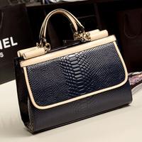 Fashion 2014 female patent leather serpentine pattern women's handbag fashion japanned leather handbag messenger bag