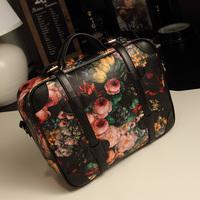 2013 spring and summer women's handbag vintage oil painting bag flower bag print women's bag handbag cross-body bag big