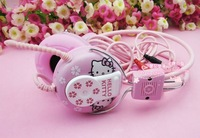 Free Shipping cute Pink Hello Kitty headphones for computer or Protable Media Player with High quality sound, not distortion