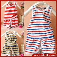10pcs/lot baby children kids Striped summer Cotton Vest + shorts suit set boy's girls t shirt + short pant random color CD077