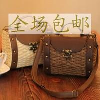 2013 straw bag rattan bag cross-body shoulder bag casual vintage