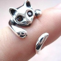 (Min order is $10) Hot-selling fashion personality cat ring opening pinky ring accessories