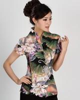 Green Smmber Fashion Chinese tradition Cotton Womens blouse shirt tops size S M L XL XXL XXXL