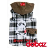 pet clothes with no sleeves, plaid hoody