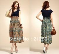 Free shipping New Arrival Fashion Women Long Print Floral Patchwork Summer Dress Sleeveless Chiffon Blue Orange Dresses 3083#
