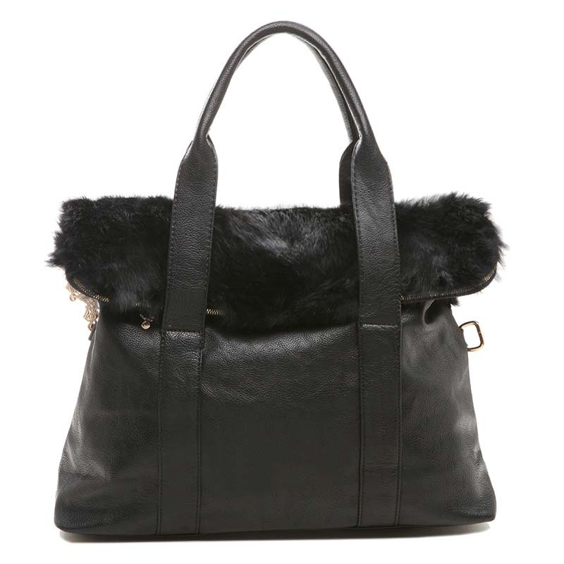Winter women's handbag leather natural rabbit fur bag Free Shipping(China (Mainland))