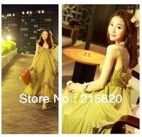 Free Shipping New  Summer  Women's  Boho  holiday  Beach dress,Temperament Chiffon Long Sleeveless casual  Dresses, 6 size
