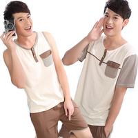 Mons fresh male 100% cotton sleepwear amber short-sleeve sleeveless lounge at home service 100% cotton male set
