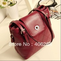 free shipping  elegent solid  plaid bucket shape best quality pu leather ladies' shoulder bag sling bag