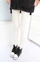 2013 spring and summer mushroom women's slim elastic long trousers white cotton legging