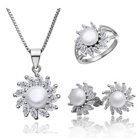 2013 new platinum-plated  Fashion elegance of the marriage Set, pearl inlaid rhinestone necklace earrings S010 ex-factory price