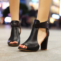 Free shipping,women's spring and summer shoes genuine leather thick heel high-heeled shoes fashion vintage open toe shoe sandals