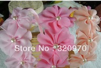 Free shipping children's fashion lace pearl package cloth hair hoop girls hairband kids latest hair accessories