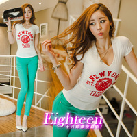2013 sexy slim deep V-neck temptation slim british style patchwork letter short-sleeve all-match basic t-shirt