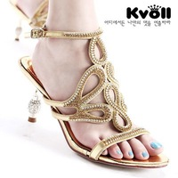 Kvoll elegant rhinestone cutout flower sandals female sexy high-heeled shoes banquet women's shoes sandals 2013
