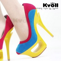 Kvoll 2013 candy color round toe color block single shoes platform high-heeled shoes female shoes