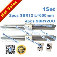 2pcs SBR12 -L 600mm linear bearing rails shaft support + 4pcs SBR12UU linear slide bearing unit case/block for CNC XYZ table