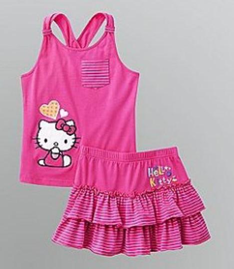 (5pcs/lot) Children girl's Cartoon suit KITTY Backless top+tutu skirt 2 piece sets children Cake skirt Ball Gown(China (Mainland))