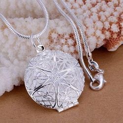 P167 fashion jewelry chains necklace 925 silver pendant Net spend Photo Frame(China (Mainland))
