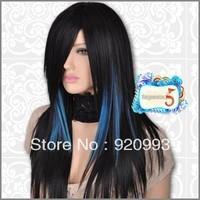 free P&P******* GW095 Black Mixed Blue Straight Stylish EMO Chic Long Wig