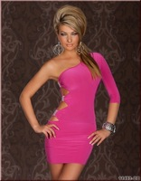 Rose blue black 3 color Free shipping Sexy lady club wear 2013 desinged one shoulder sleeve mini dress sexy costume YH6675