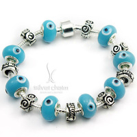 Free Shipping Fashion European Style 925 Silver Charm Bracelet with Evil Eye Chamilia Glass DIY Fashion Jewelry PA1324
