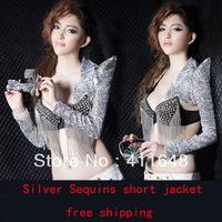 Sexy Short Jacket/Bolero/Shrug Shoulder Jazz Dance Silver Sequins Free Shipping