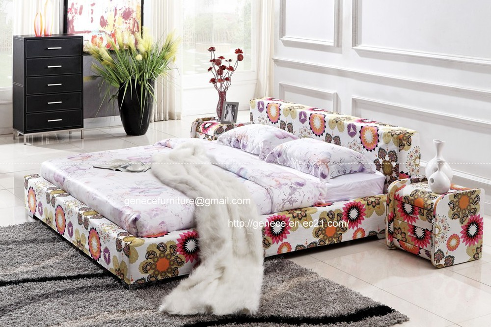 modern flower cloth bed colorful soft bed queen size bed(China (Mainland))