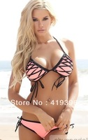 Unique Design Fashion Bathing Suits Lovely Girl Swimming Bikini CL37023 Free Shipping Wholesale Retail Pink Bathing Suit