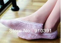 Free ship/EMS,Retail Pack extra short sexy lace ankle socks vogue boat socks as lady mesh invisible socks for 35-40 yard feet.