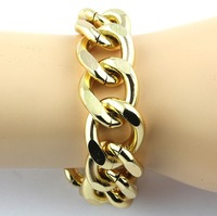 "2013 New Fashion Shiny Cut LIGHT GOLD Plated Chunky Aluminum Curb Chain Bracelets 8""  Link Necklace"