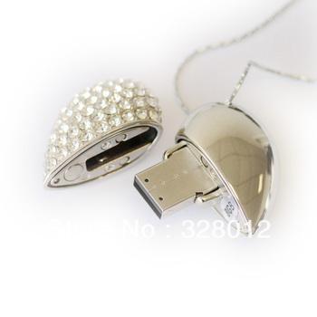 Fashion Crystal USB Flash Drive Heart Shape 4GB 8GB 16GB USB 2.0 Flash Memory Stick Drive Gift Free Shipping