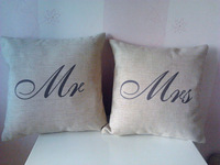 NEW ARRIVAL Free Shipping Mr and Mrs Always Right  Linen Cushion Covers Pillow Cases Pillow cover  45x45cm 2pcs/lot MM002