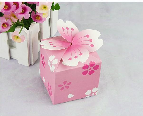 Wholesale 100pcs romantic cherry blossom sweet pink box,Creative personality wedding candy box, Free Shipping(China (Mainland))