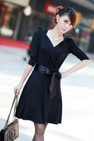 2013 spring summer new women's Korean star models aristocratic temperament fat sister sexy V collar size dress