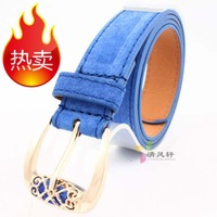 8 2013 all-match bohemia women's strap pigskin velvet fashion candy color wide belt accessories