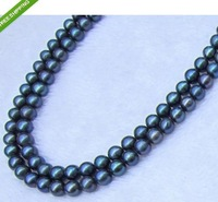 "35"" 9-10MM TAHITIAN REAL BLACK PEARL NECKLACE 14K GOLD CLASP"