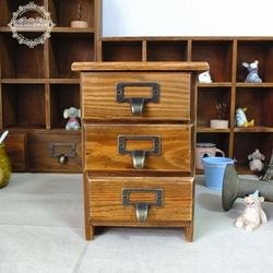 Small fresh zakka wood solid wood vintage retro finishing small drawer storage cabinet(China (Mainland))