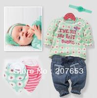 free shipping 4sets /lot cotton girls 5pcs girls long sleeve flower  blouse /top+pant+2pcs bib+headwear