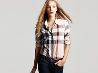 free shipping fashion designer brand women plaid shirt ladies grid casual blouse long sleeve t-shirt fashion tops