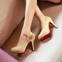 Red bridal wedding shoes small sizes 31 32 33 flower elegant high heels platform woman shoes